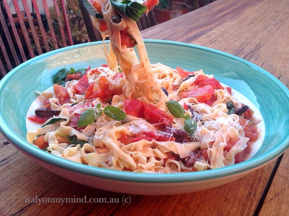 pasta puttanesca-italy on my mind-italian food blog