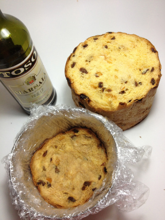 Starting to line the zuccotto mould with panettone