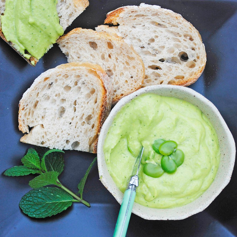 broad bean and mint pesto dip