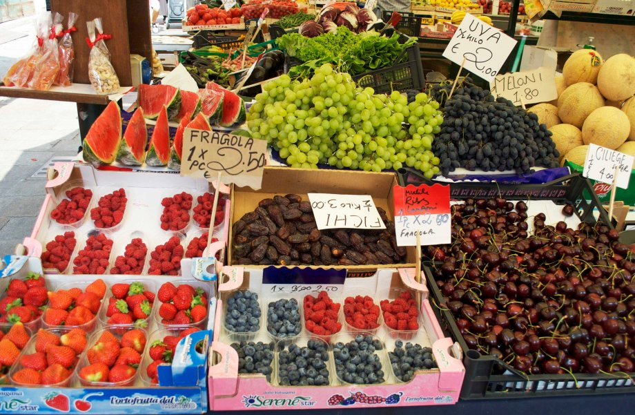 Strawberries in summer at the Rialto Market, Venezia