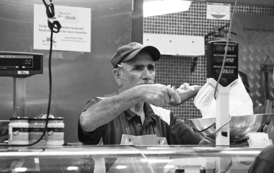 greek fishmonger BW