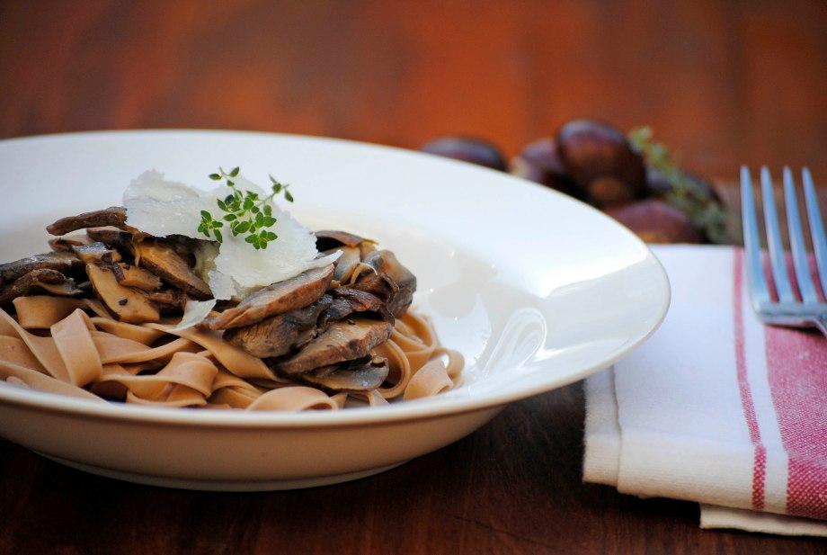 chestnut pasta close up