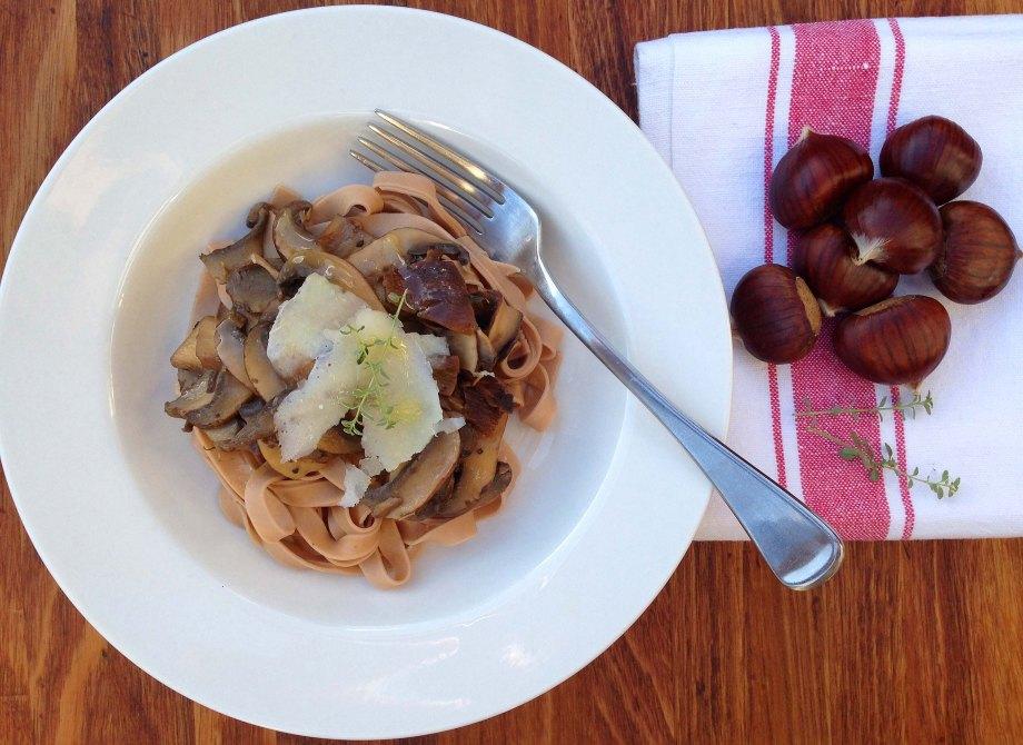 chestnut pasta with mushrooms aerial