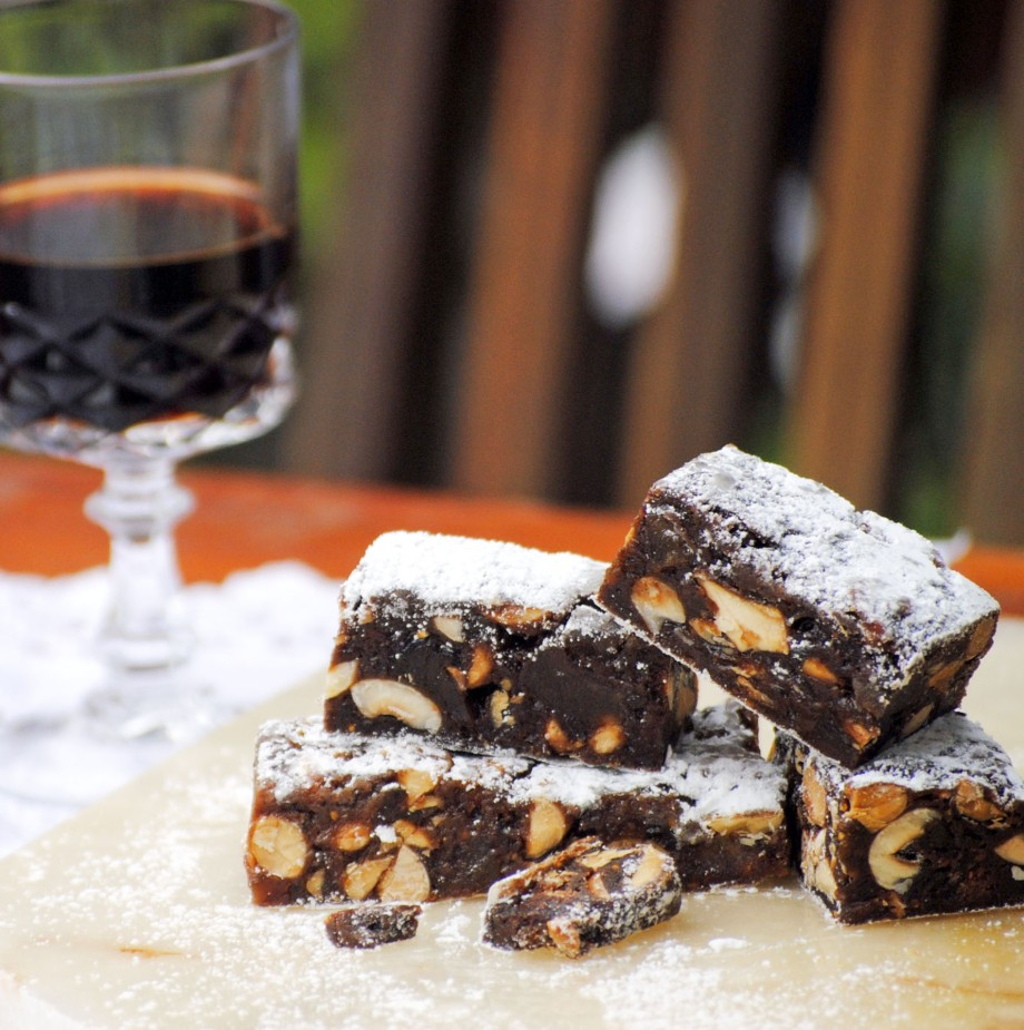 panforte with glass of port
