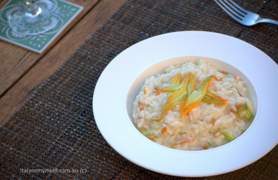 italian food blog-italy on my mind-zucchini flower and prosecco risotto