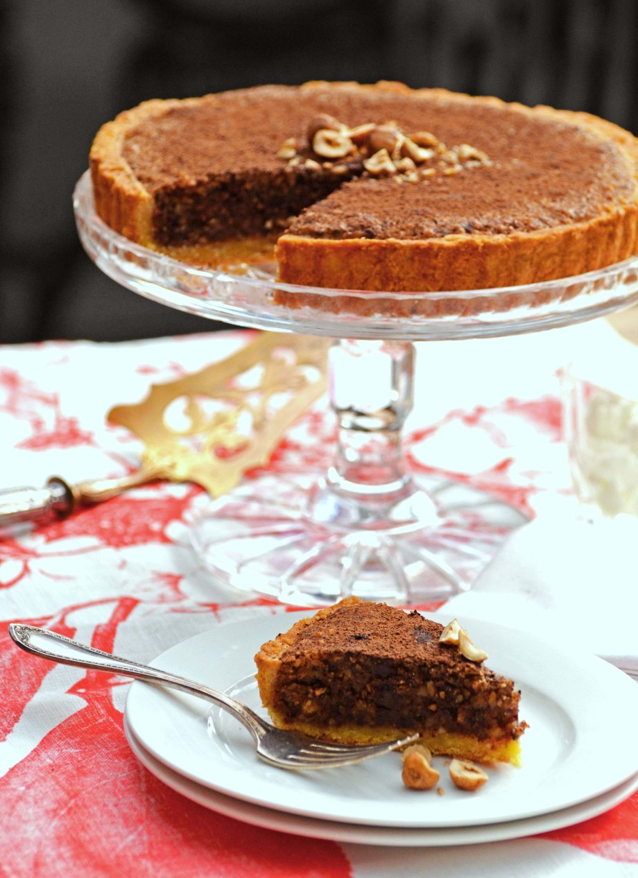 hazelnut and chocolate tart-italy on my mind