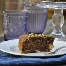dark chocolate, pistachio and pear cake
