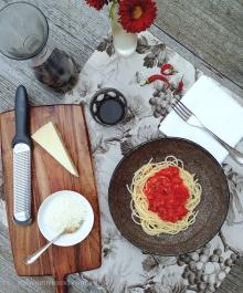 spaghetti all'amatriciana-aerial-italy on my mind