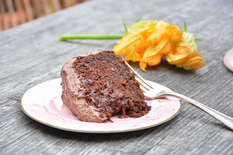slice of zucchini chocolate cake gluten free close up-italy on my mind-best italian food blog