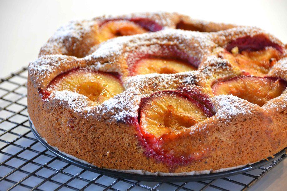 plum cake on rack-italy on my mind